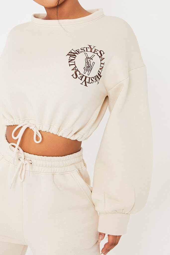 Stone Ye Saint West Cropped Embroided Sweater view 5