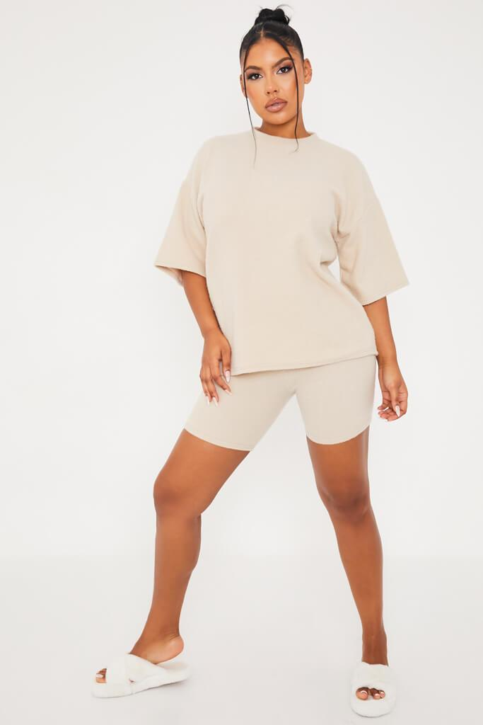 Stone Brushed Rib Cosy Oversized Tee And Short Pj Set view 2
