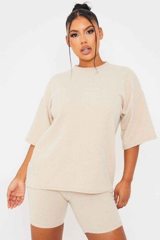 Stone Brushed Rib Cosy Oversized Tee And Short Pj Set