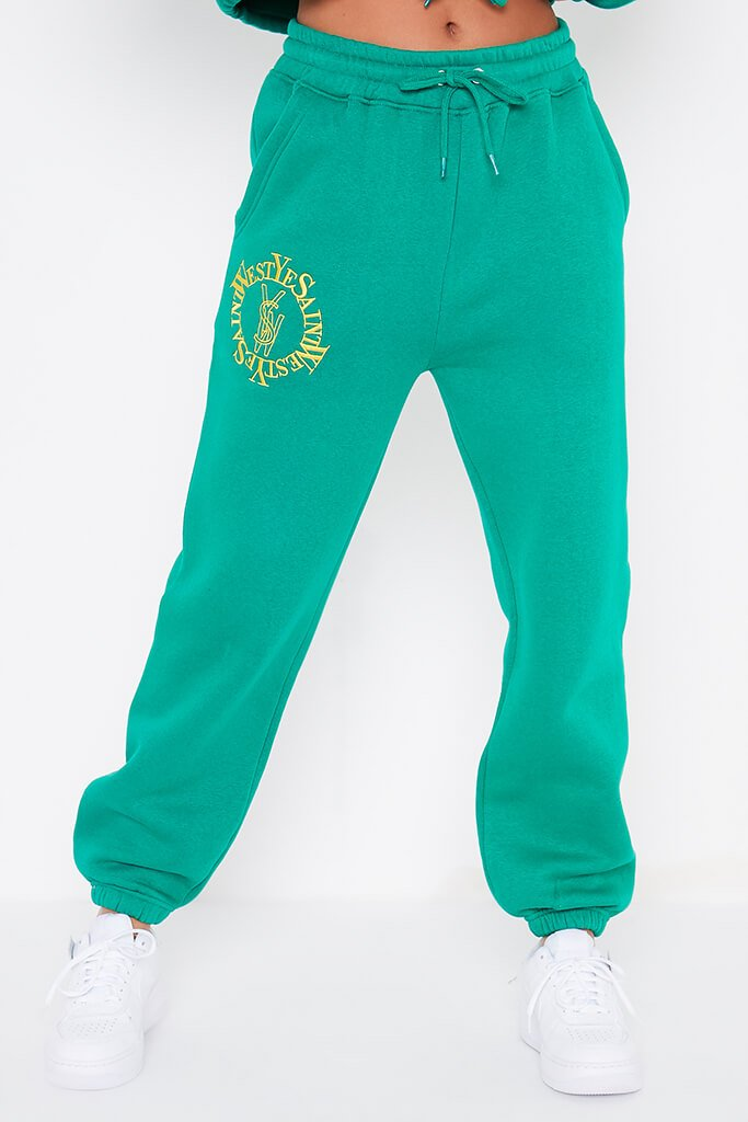 Bottle Green Ye Saint West Embroidered Joggers view 2