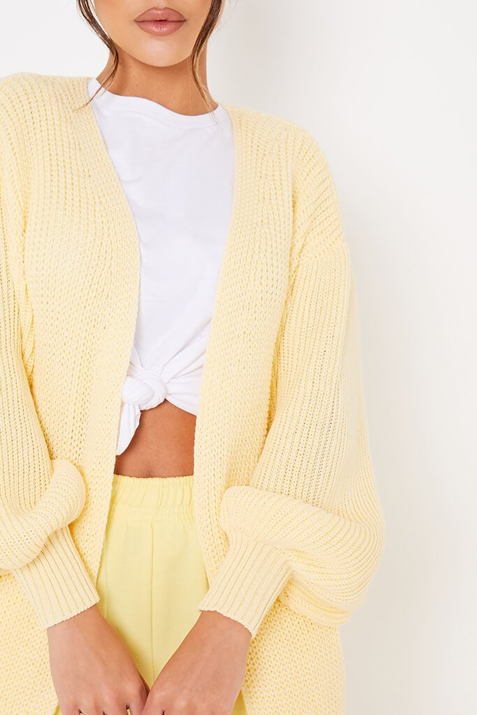Yellow Balloon Sleeve Knitted Cardigan view 5