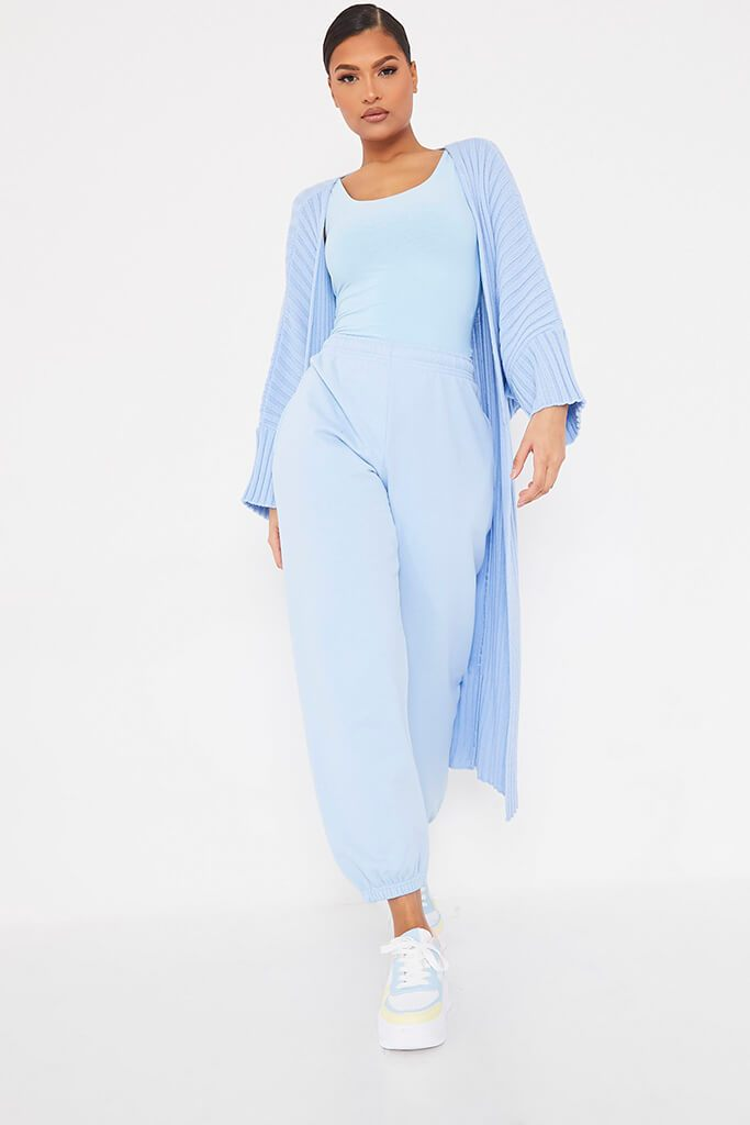 Light Blue Wide Sleeve Knitted Maxi Cardigan view main view