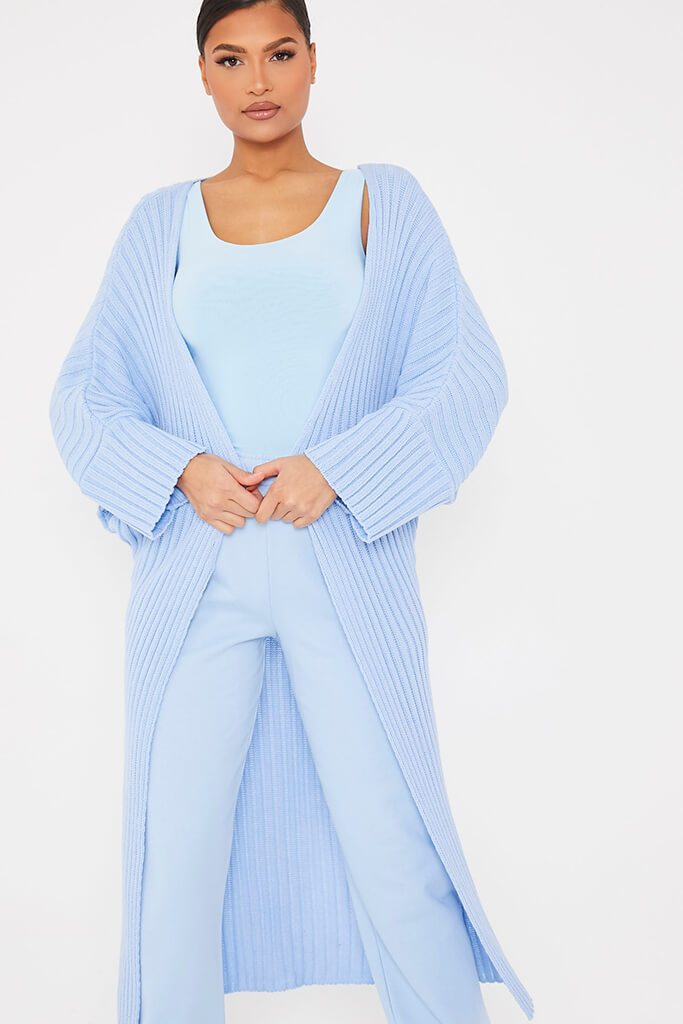 Light Blue Wide Sleeve Knitted Maxi Cardigan view 2