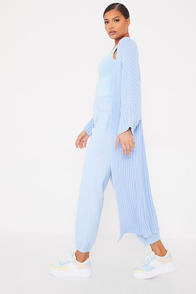 Light Blue Wide Sleeve Knitted Maxi Cardigan view 3