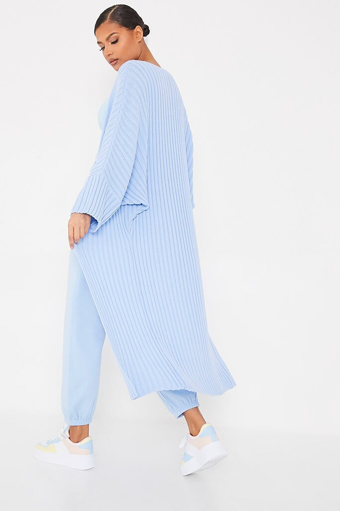 Light Blue Wide Sleeve Knitted Maxi Cardigan view 4