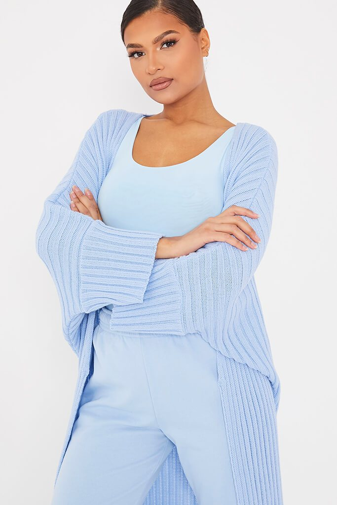 Light Blue Wide Sleeve Knitted Maxi Cardigan view 5