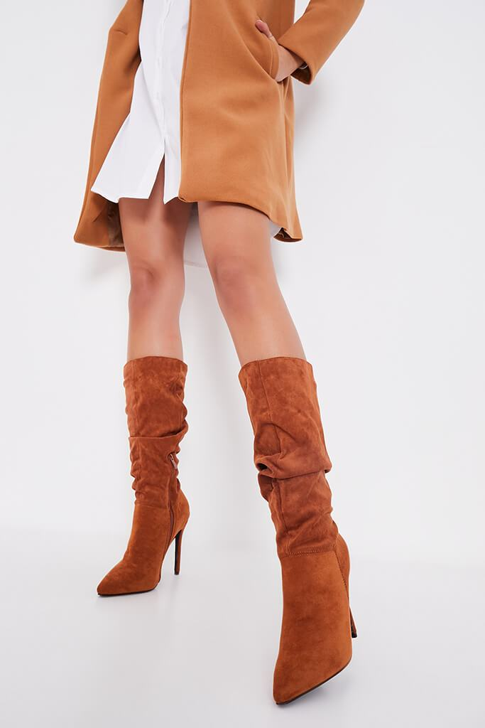 Tan Slouchy Pointed Toe Calf Height Boots view 2