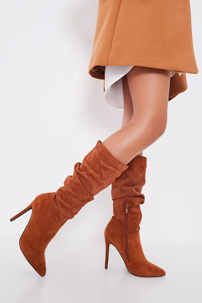 Tan Slouchy Pointed Toe Calf Height Boots