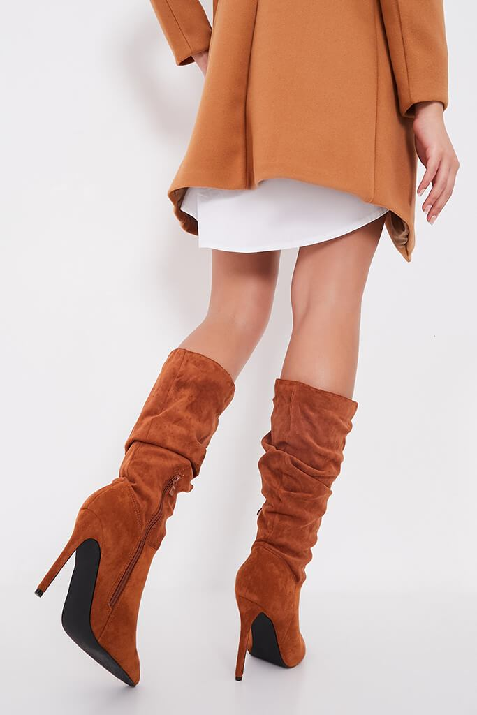 Tan Slouchy Pointed Toe Calf Height Boots view 3