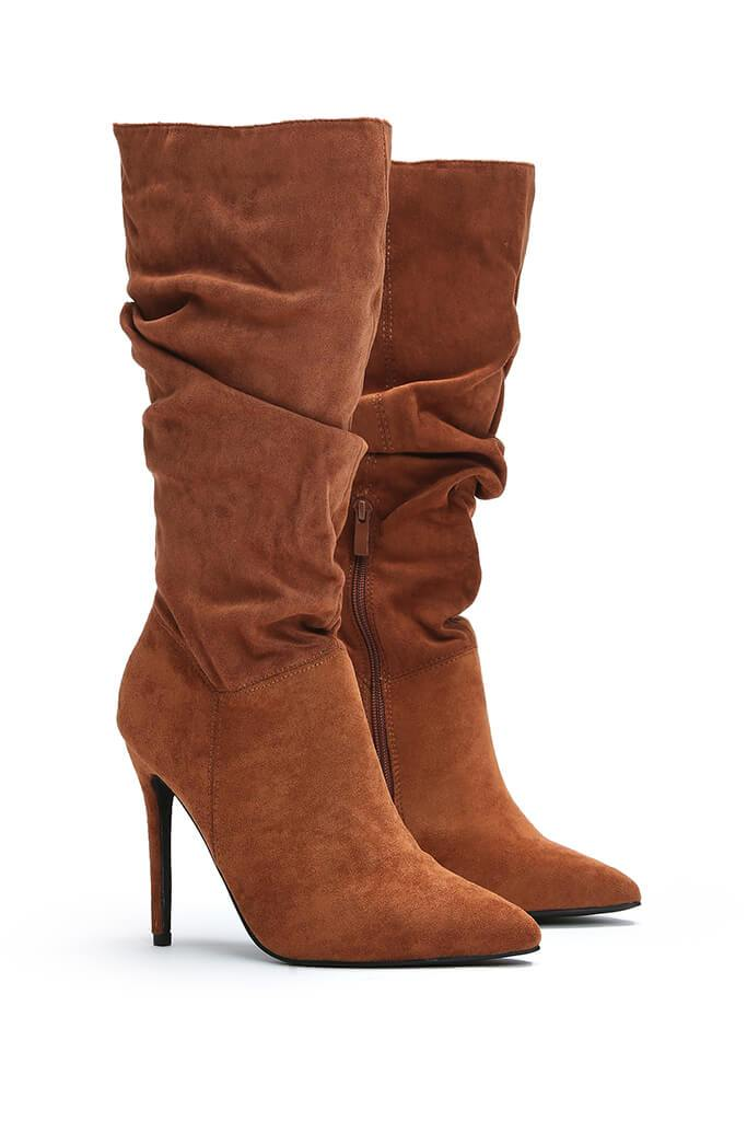 Tan Slouchy Pointed Toe Calf Height Boots view 4