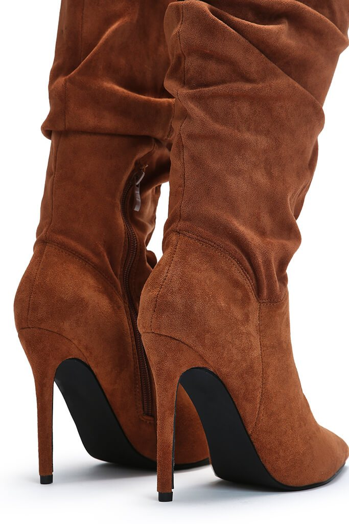 Tan Slouchy Pointed Toe Calf Height Boots view 5