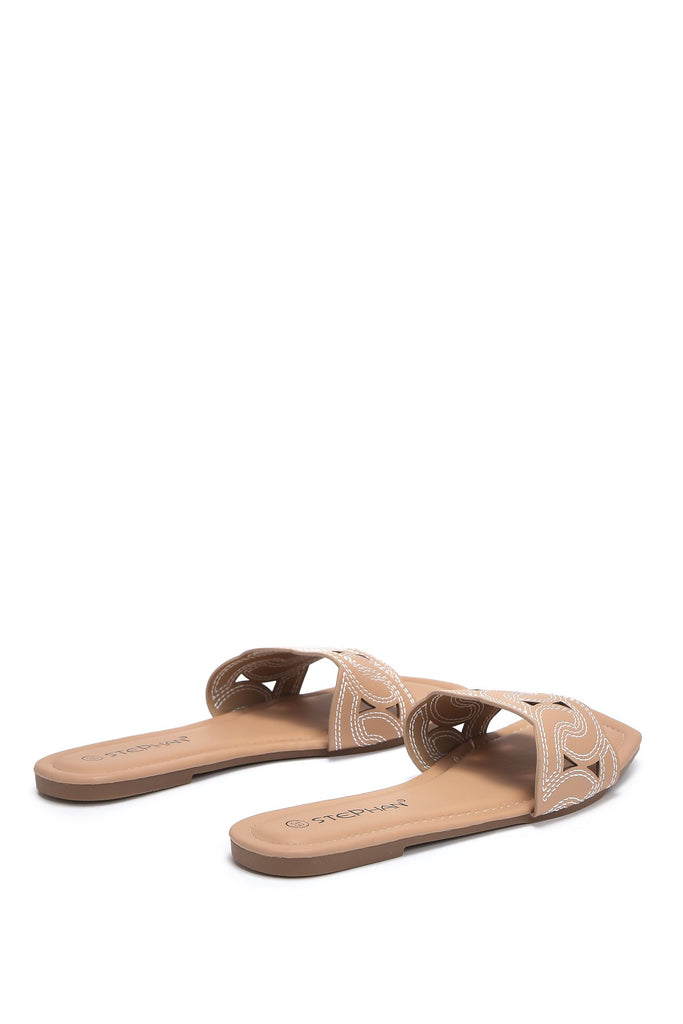 Camel Contrast Stitch Square Toe Flat Sandals view 4