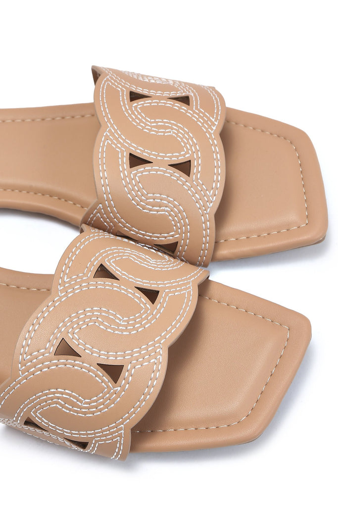 Camel Contrast Stitch Square Toe Flat Sandals view 5