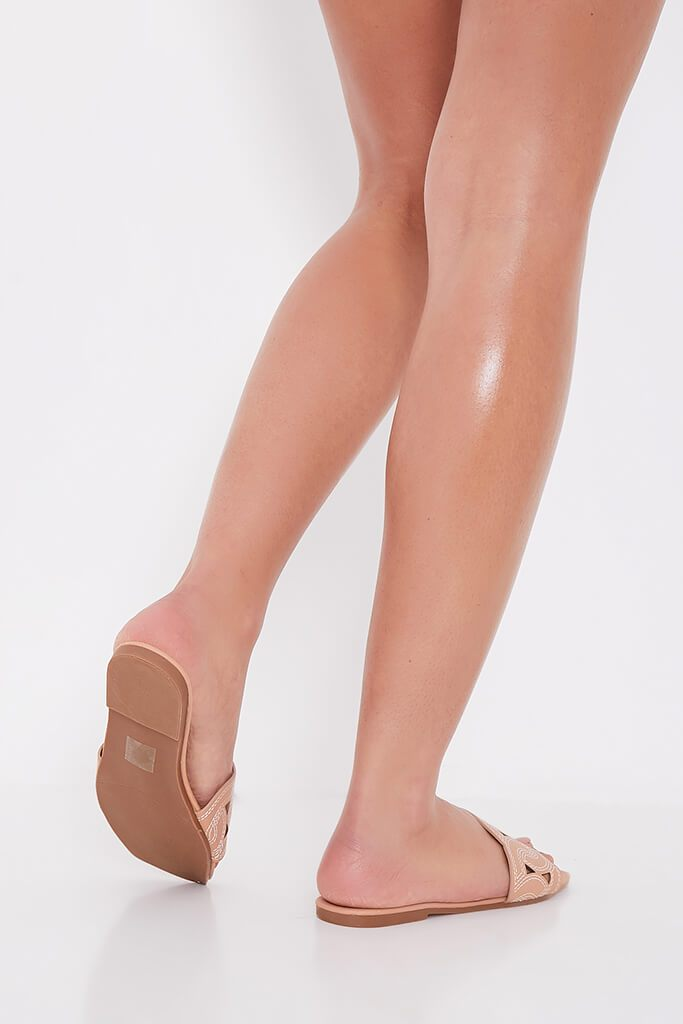Camel Contrast Stitch Square Toe Flat Sandals view 2
