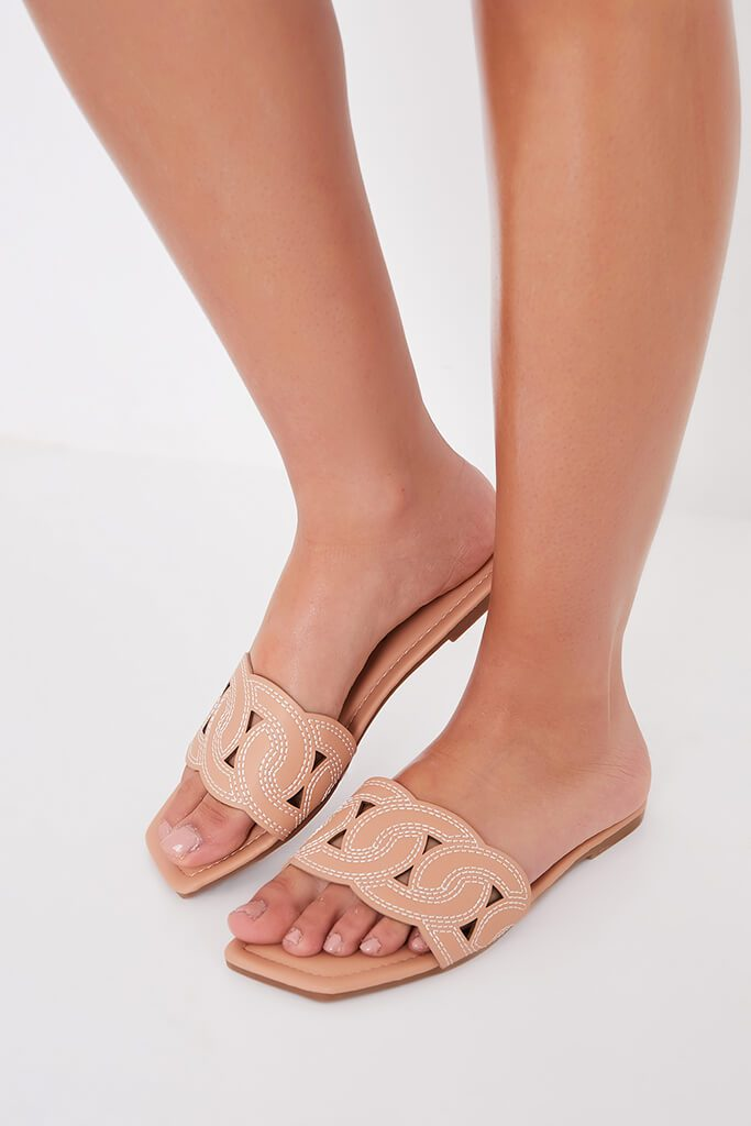 Camel Contrast Stitch Square Toe Flat Sandals view 3