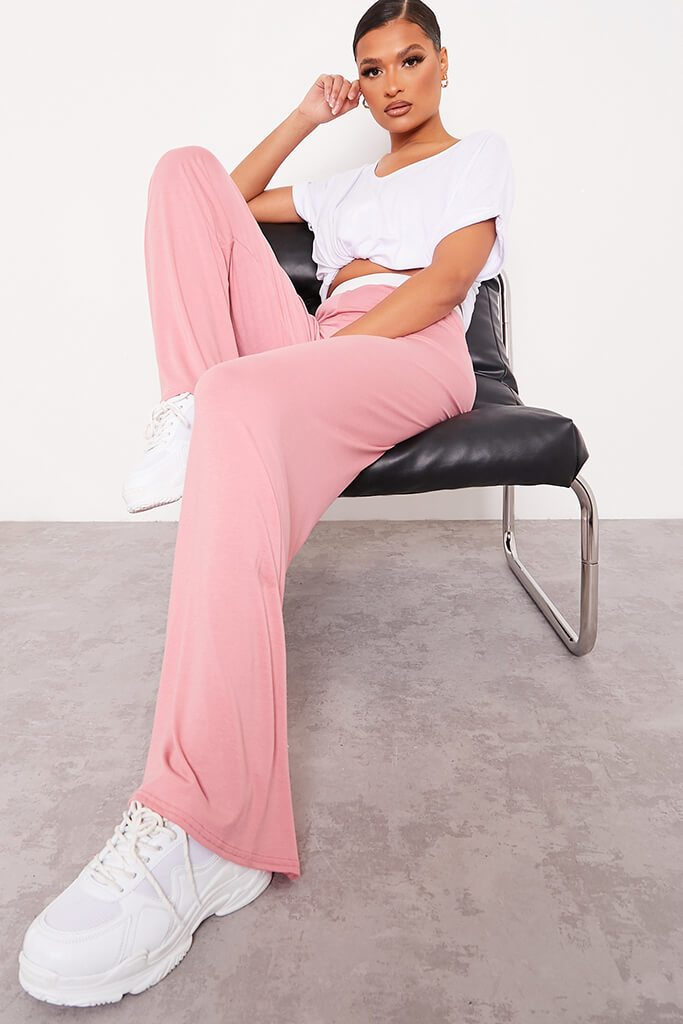 Dusky Pink Contrast Waistband Wide Leg Jersey Trousers view main view