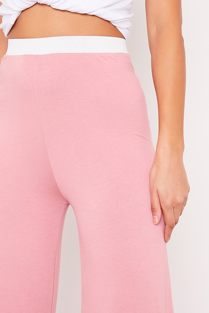 Dusky Pink Contrast Waistband Wide Leg Jersey Trousers view 5