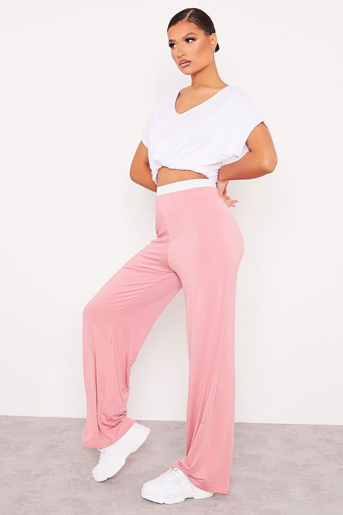 Dusky Pink Contrast Waistband Wide Leg Jersey Trousers view 3