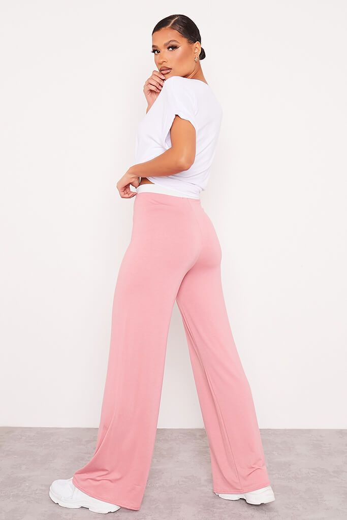 Dusky Pink Contrast Waistband Wide Leg Jersey Trousers view 4