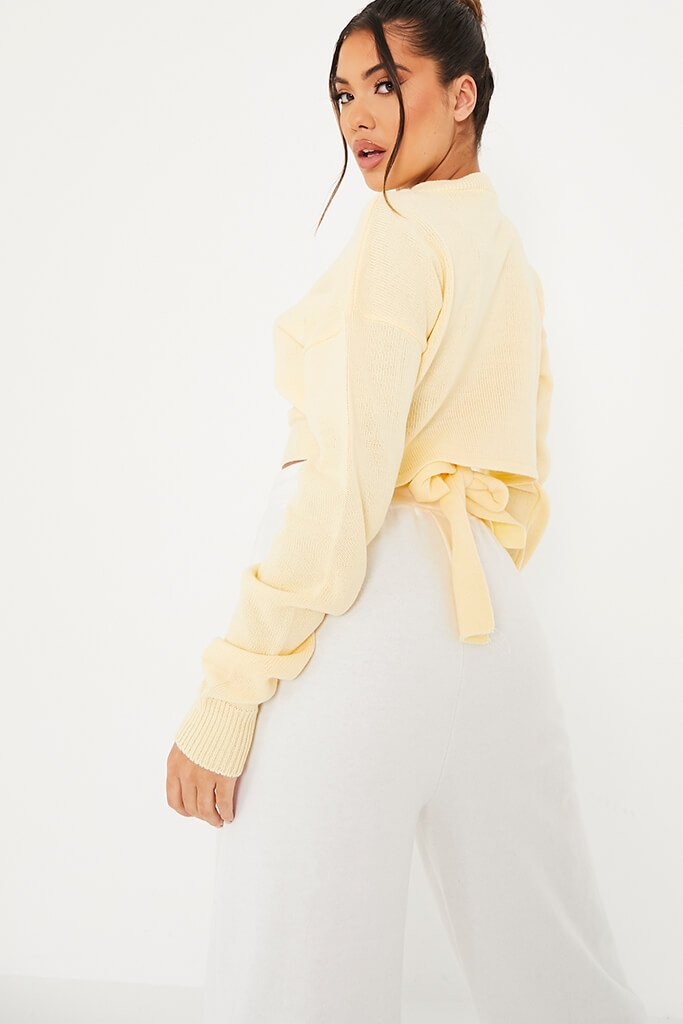Yellow Cropped Jumper With Cut Out Back Detail