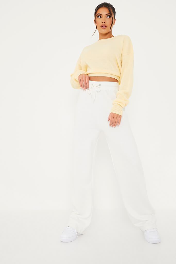 Yellow Cropped Jumper With Cut Out Back Detail view 2