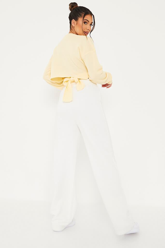 Yellow Cropped Jumper With Cut Out Back Detail view 4