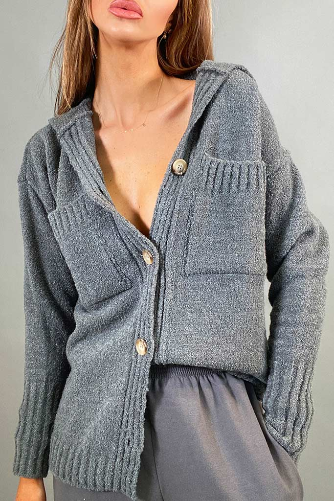 Charcoal Button Up Cardigan With Collar And Front Pockets