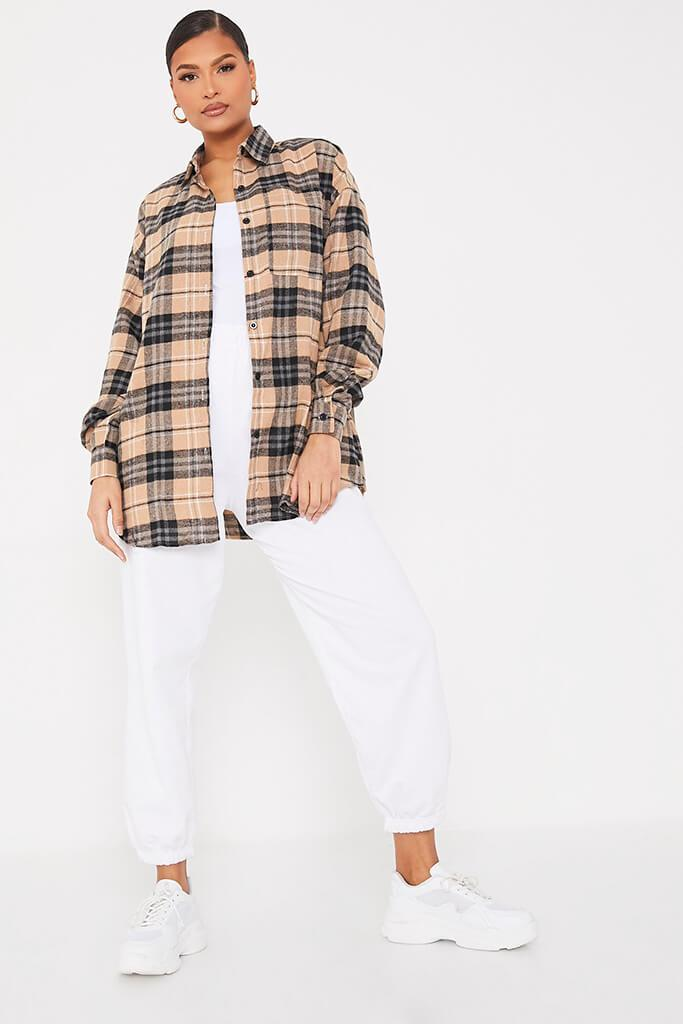 Stone Brushed Check Graphic Back Oversized Shirt view 2
