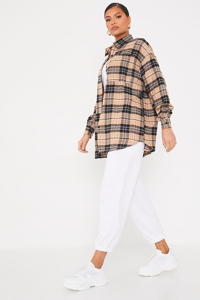 Stone Brushed Check Graphic Back Oversized Shirt view 3