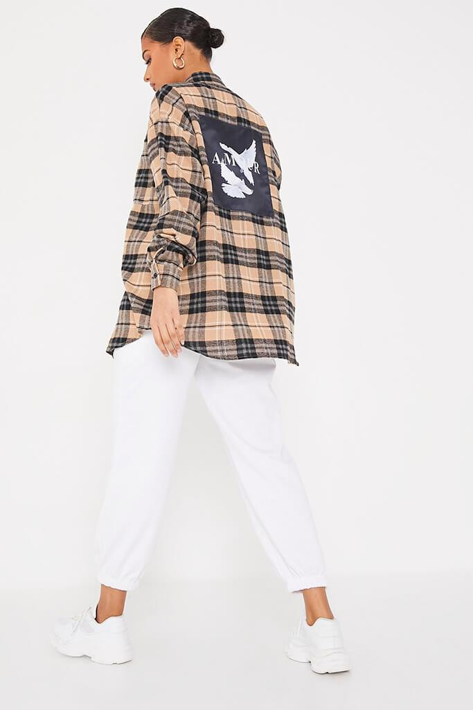 Stone Brushed Check Graphic Back Oversized Shirt view 4