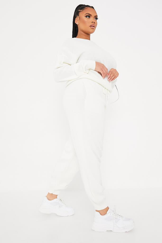 Cream Plus Size Crew Neck Knitted Jogger Set view 3
