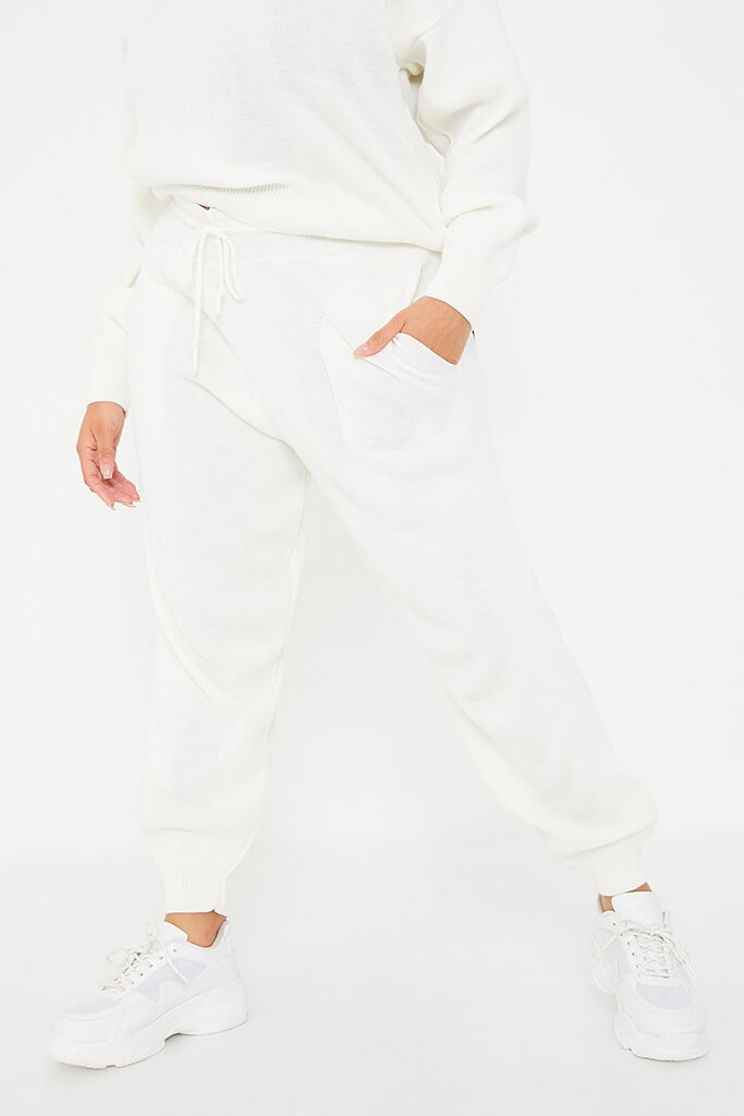 Cream Plus Size Crew Neck Knitted Jogger Set view 2