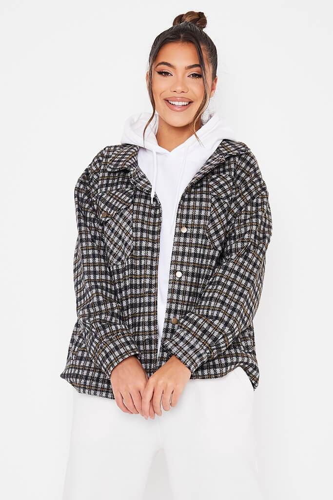 Yellow Checked Shacket With Front Pockets