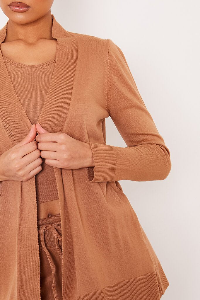 Taupe Long Line Fine Knit Cardigan view 5