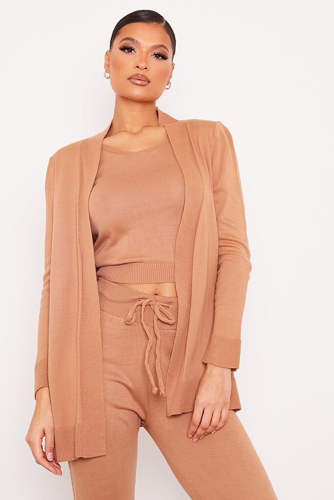 Taupe Long Line Fine Knit Cardigan