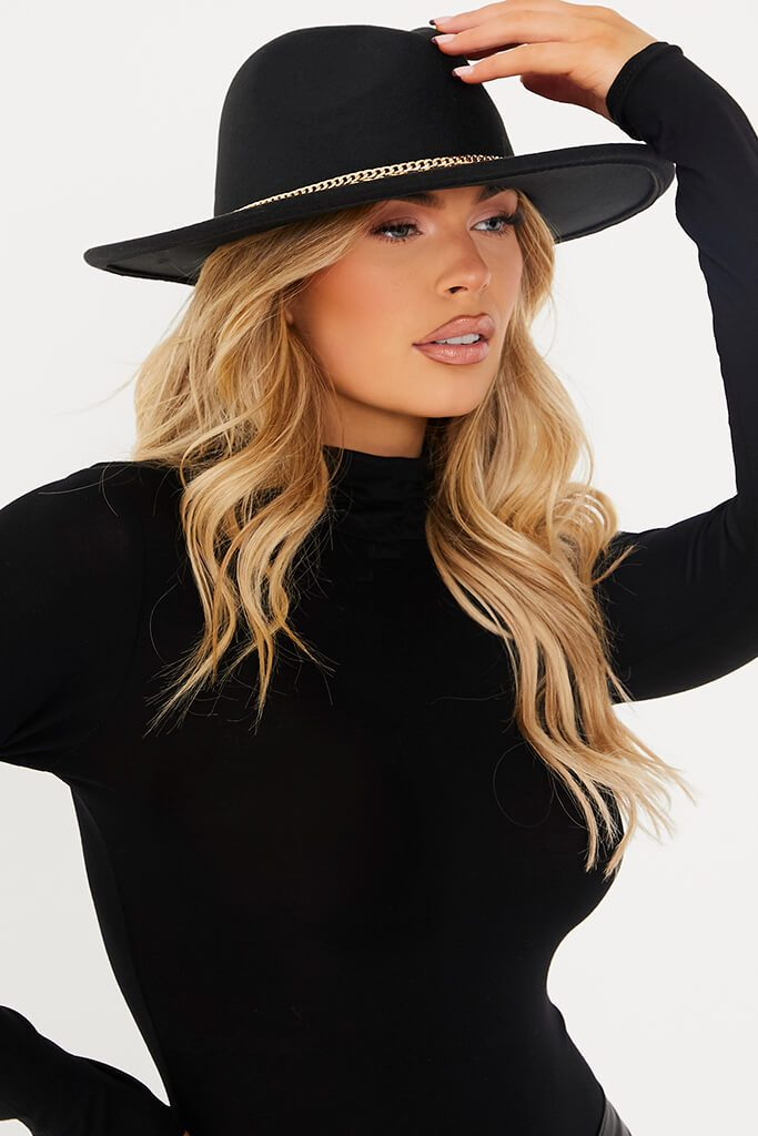 Black Double Faux Leather Chain Detail Fedora Hat