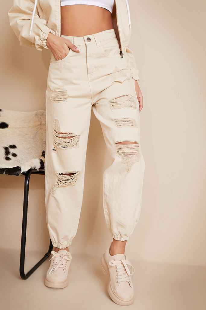 Ecru All Over Distressed Baggy Jogger Jeans view 2