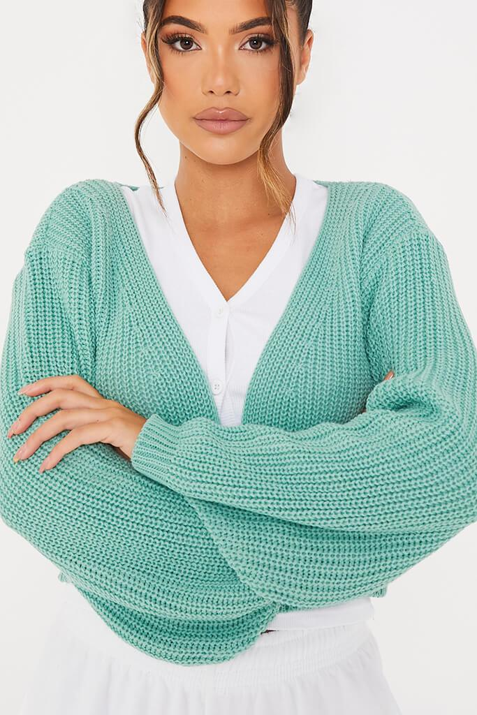Green Super Crop Balloon Sleeve Cardigan view 5