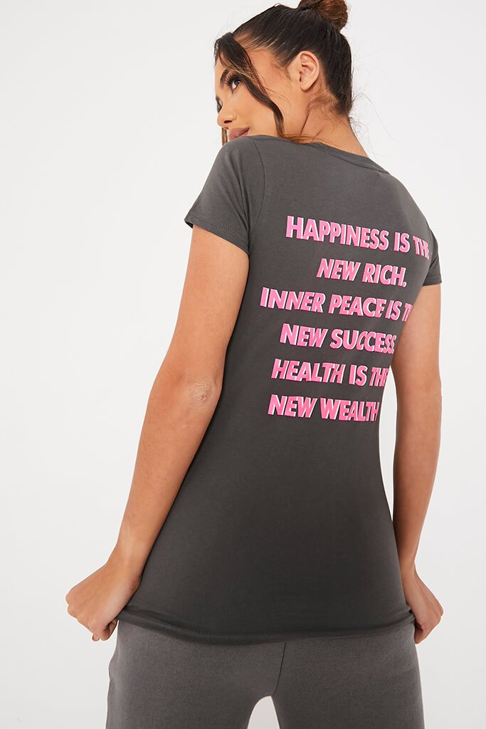 Charcoal Happiness Printed T-Shirt
