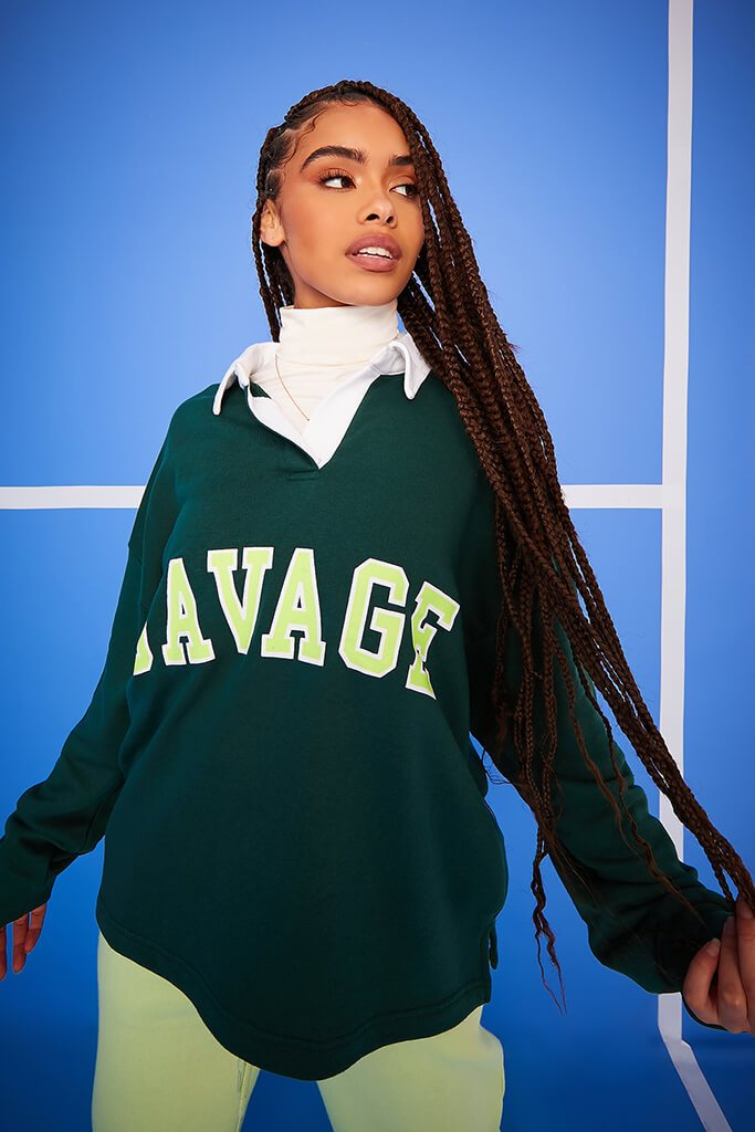 Forest Green Savage Oversized Long Sleeve Rugby Top view 5