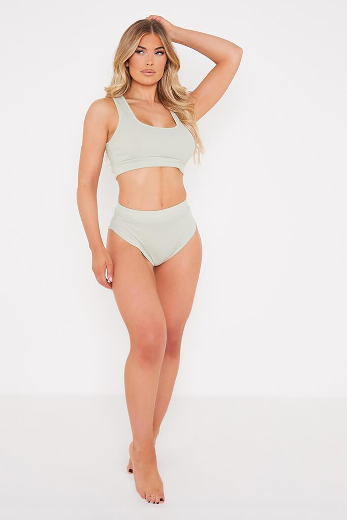 Sage Rib Scoop Neck Bralet view 3