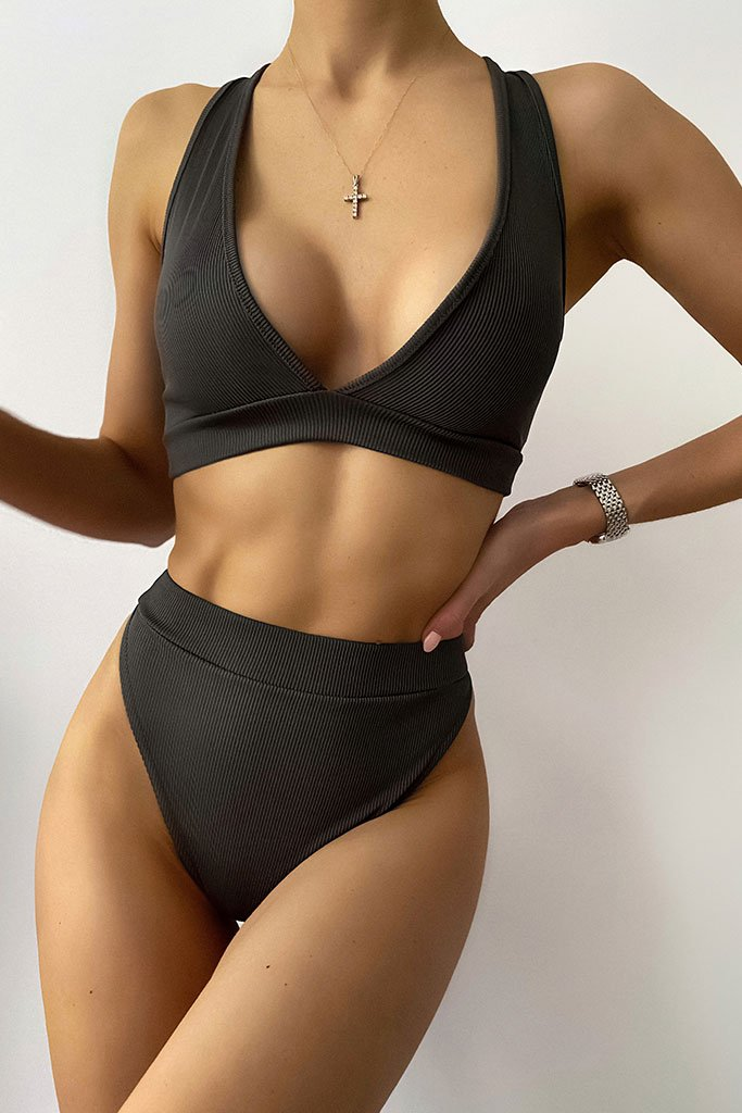 Charcoal Rib Triangle Bralet