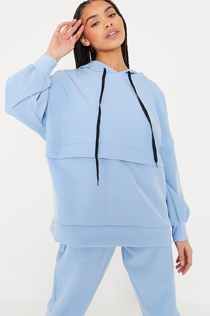 Light Blue Woven Super Oversized Seam Detail Hoodie