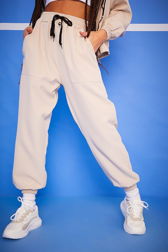 Cream Woven Pocket Detail Tie Waist Joggers view 2