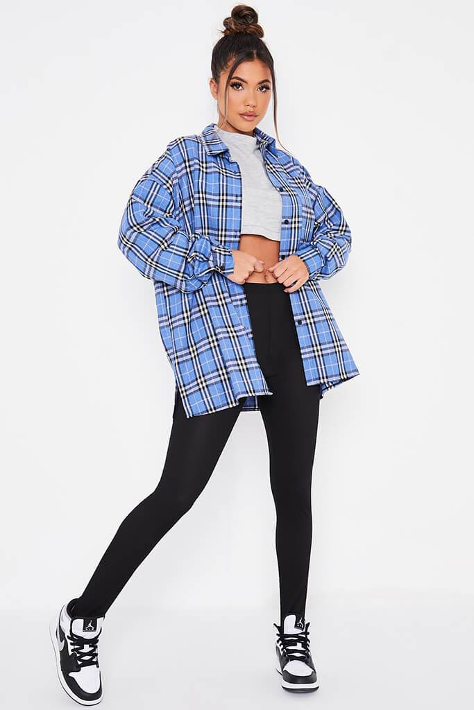 Blue Brushed Check Oversized Shirt view 2