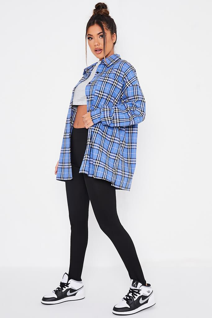 Blue Brushed Check Oversized Shirt view 3