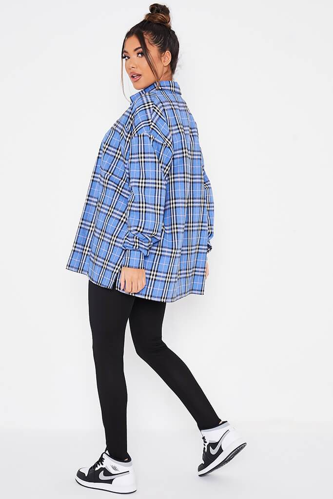 Blue Brushed Check Oversized Shirt view 4