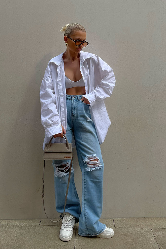 Light Wash Distressed Wide Leg Split Hem Jean