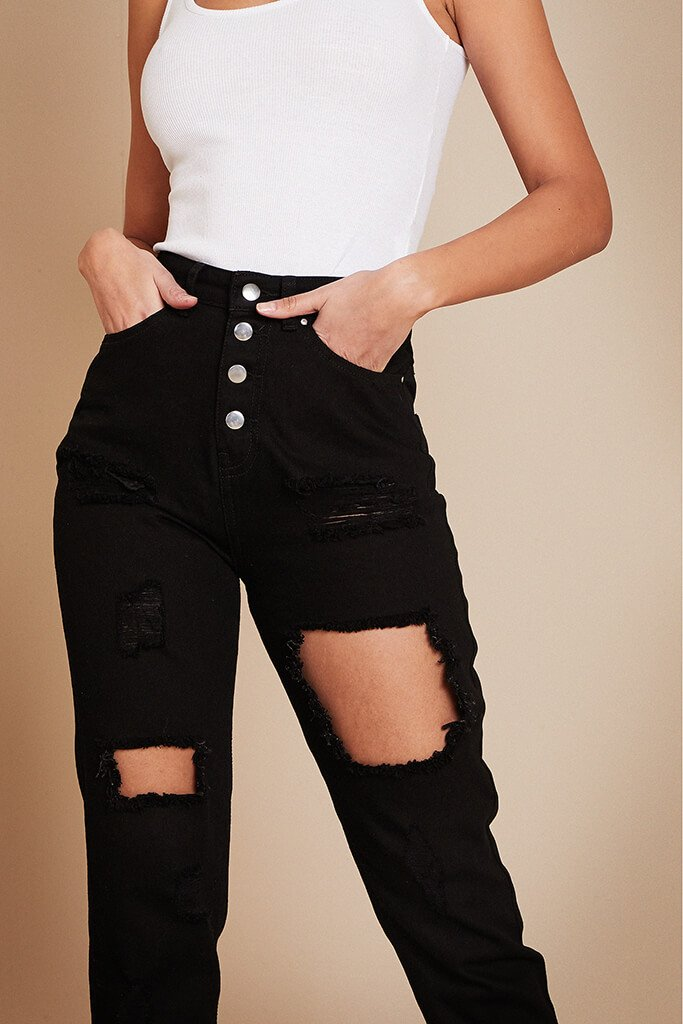 Black 5 Button Ripped Mom Jean view 5