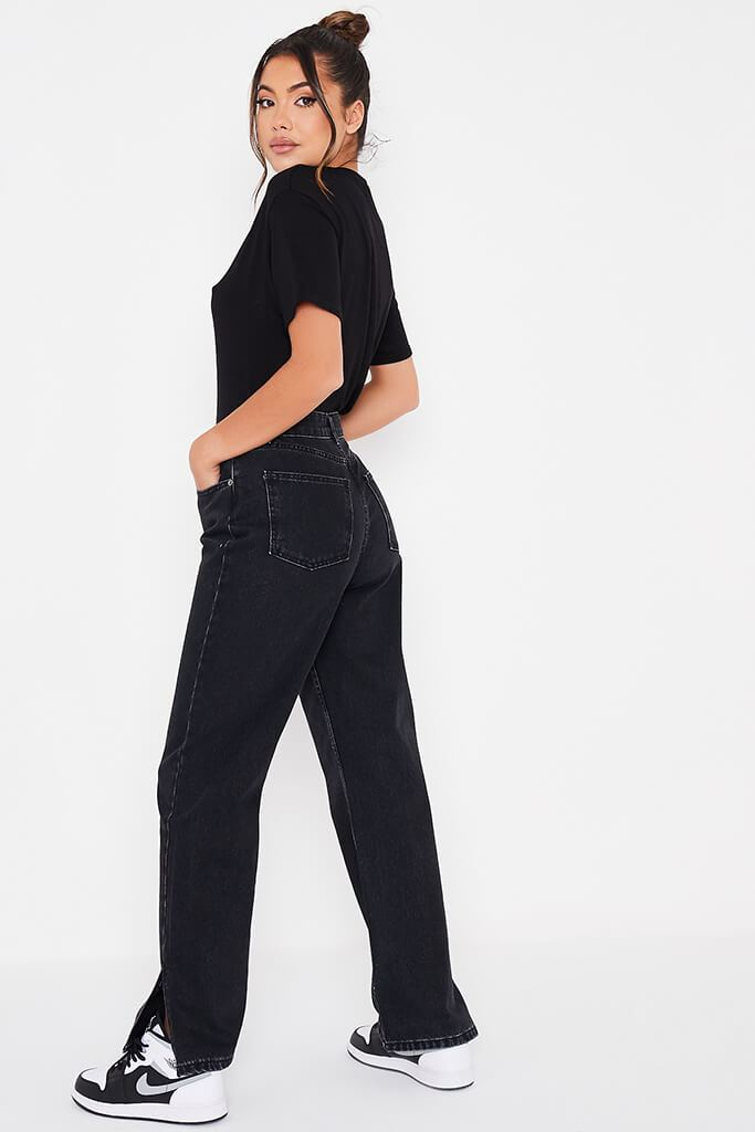 Black Cross Over Waist Split Hem Jeans view 4